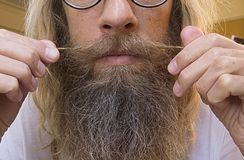 Hairy Face of a Man stock images