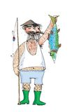 Hairy fisherman and hairy fish Stock Photo