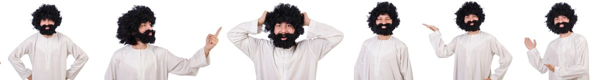 The hairy funny man isolated on the white. Hairy funny man isolated on the white Royalty Free Stock Photos