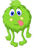 Hairy green monster cartoon Royalty Free Stock Photos