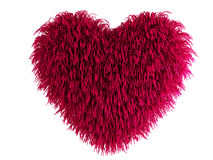 Hairy heart. Red hairy heart - computer render stock illustration