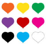 Hairy Hearts. Here we have 9 Hairy Hearts in different colors. Colors are very easily edited vector illustration