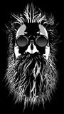 Hairy hippie character. 3D illustration of cartoon style grungy bearded man wearing sunglasses Stock Image
