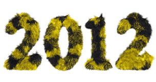 Hairy lettering 2012 in black and yellow. High quality rendering of hairy lettering 2012 in black and yellow Royalty Free Stock Photos