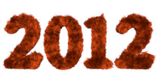 Hairy lettering 2012 in red orange. High quality rendering of hairy lettering 2012 in red orange Stock Photos