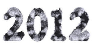 Hairy lettering 2012 in stained black and white Stock Photos
