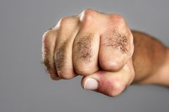 Hairy man fist closeup expression over gray. Hairy man fisht closeup expression over gray background Royalty Free Stock Photo