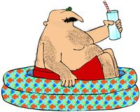 Hairy Man In A Kiddie Pool. This illustration depicts a hairy man sitting in a children's pool and holding a drink Stock Image