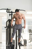 Hairy Man Showing Abdominal Muscle. Hairy Handsome Young Man Standing Strong In The Gym And Flexing Muscles - Muscular Athletic Bodybuilder Fitness Model Posing stock image