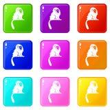 Hairy monkey icons 9 set Royalty Free Stock Photos