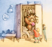Hairy monster. Child draws a cute monster living in a closet, use a lollipop Royalty Free Stock Images