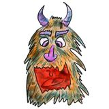 Hairy Monster With Horns Yellow Watercolor Cartoon Stock Images