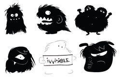 Hairy monsters icons Royalty Free Stock Photo
