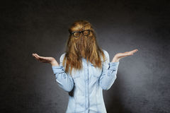Hairy nerd Royalty Free Stock Photos