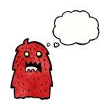 Hairy red monster cartoon Stock Photo