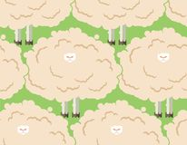 Hairy sheep flock seamless pattern. Shaggy lamb herd background. Vector illustration Royalty Free Stock Photography