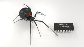 Hairy spider attacks microchip iot cybersecurity concept Stock Photos