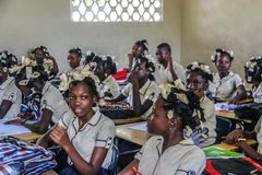 Haitańscy szkoła średnia wieki dojrzewania Obrazy Royalty Free