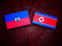 Haitańska flaga z koreańczyk z korei północnej flaga na drzewnym fiszorku Zdjęcie Stock