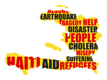 Haiti. Help for Haiti. Illustration of isolated Haiti map with words of problems Vector Illustration