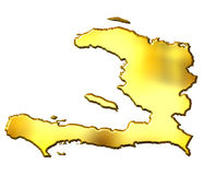 Haiti 3d Golden Map Stock Images