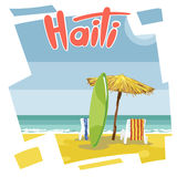 Haiti beach flyer with a green surfing board Stock Images
