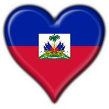 Haiti button flag heart shape Stock Images