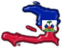 Haiti button flag map shape Stock Photos