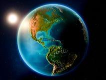 Haiti com por do sol do espaço ilustração do vetor