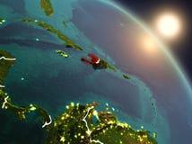 Haiti do espaço durante o nascer do sol Fotos de Stock Royalty Free