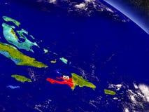 Haiti with embedded flag on Earth Stock Photo