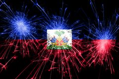Haiti fireworks sparkling flag. New Year, Christmas and National day concept.  royalty free illustration
