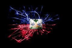 Haiti fireworks sparkling flag. New Year 2019 and Christmas party concept. Haiti fireworks sparkling flag. New Year 2019 and Christmas party concept royalty free illustration