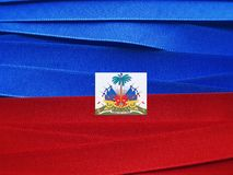 Haiti flag or banner. Made with red and blue ribbons stock images