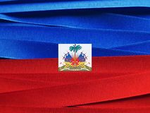 Haiti flag or banner. Made with red and blue ribbons royalty free stock photography
