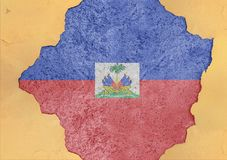 Haiti flag in big concrete cracked hole and broken material facade. Structure stock photos