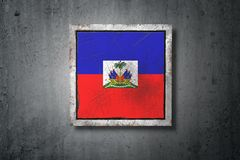Haiti flag in concrete wall Royalty Free Stock Image