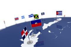 Haiti flag. Country flag with chrome flagpole on the world map with neighbors countries borders. 3d illustration rendering flag Stock Photography