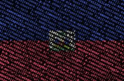 Haiti flag is depicted on the screen with the program code. The concept of modern technology and site development.  vector illustration