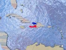 Haiti with flag on globe Stock Photography