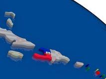 Haiti with flag Royalty Free Stock Photo