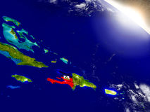 Haiti with flag in rising sun Stock Photography