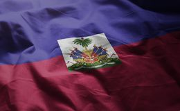 Haiti Flag Rumpled Close Up.  royalty free stock photography