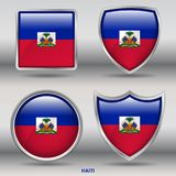 Haiti Flag in 4 shapes collection with clipping path Royalty Free Stock Photos