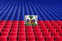 Haiti flag stadium seats. Sports competition concept. Haiti flag stadium seats. Sports competition concept stock image