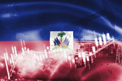 Haiti flag, stock market, exchange economy and Trade, oil production, container ship in export and import business and logistics. America, background, banner vector illustration
