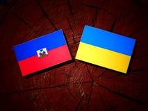 Haiti flag with Ukrainian flag on a tree stump isolated. Haiti flag with Ukrainian flag on a tree stump stock image