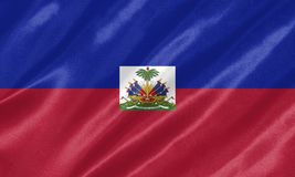 Haiti Flag. With waving on satin texture stock illustration