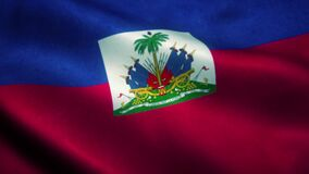 Haiti flag waving in the wind. National flag of Haiti. Sign of Haiti seamless loop animation. 4K