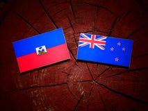 Haiti flaga z Nowa Zelandia flaga na drzewnym fiszorku odizolowywającym obraz royalty free